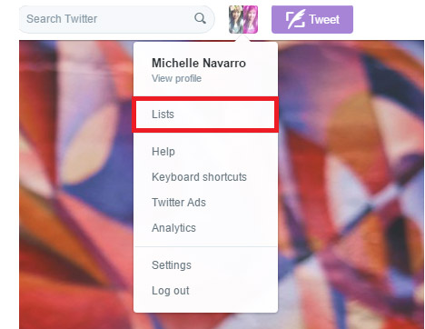 Go to 'Lists' on your Twitter profile