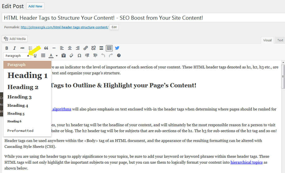 Add Heading Tags to Outline Your Content