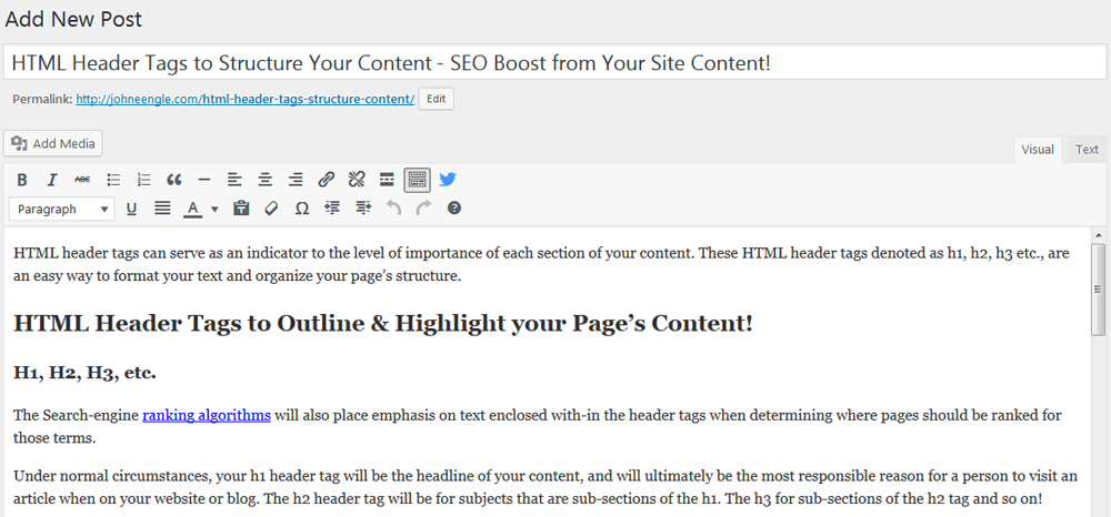 Add your title then add or type your article information within the large box.