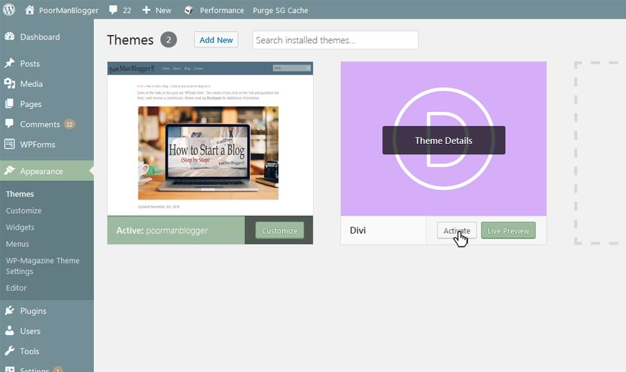 In your WordPress Dashboard - How to Activate a Theme